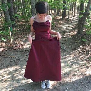 Burgundy A-line prom/bridesmaid dress